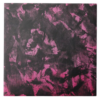 Black Ink on Pink Background Large Square Tile