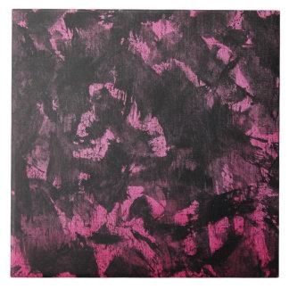 Black Ink on Pink Background Tile