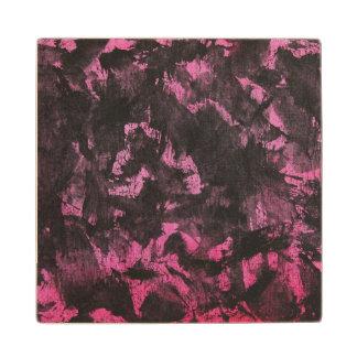 Black Ink on Pink Background Wood Coaster