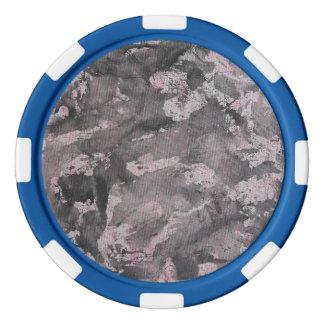 Black Ink on Pink Highlighter Poker Chips
