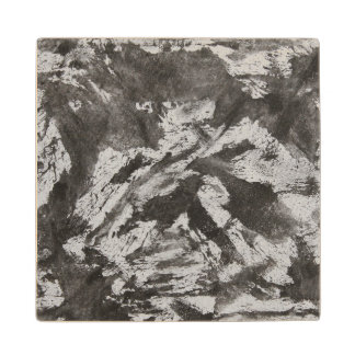 Black Ink on White Background #2 Wood Coaster