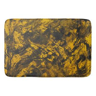 Black Ink on Yellow Background Bath Mat