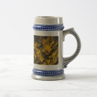 Black Ink on Yellow Background Beer Stein