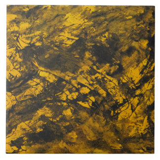 Black Ink on Yellow Background Large Square Tile