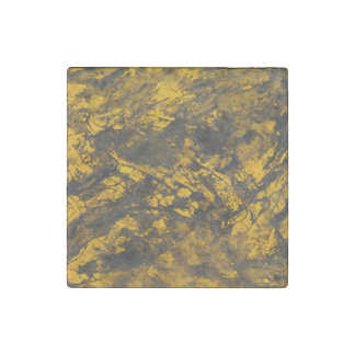 Black Ink on Yellow Background Stone Magnet