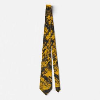 Black Ink on Yellow Background Tie