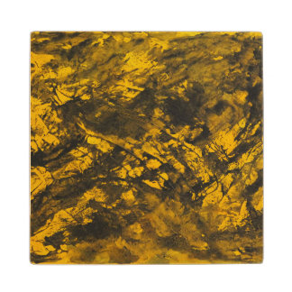 Black Ink on Yellow Background Wood Coaster