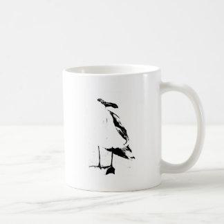 Black ink outline seagull coffee mug