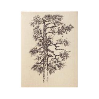 Black ink pine tree wood poster