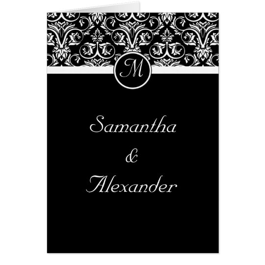 Black  Insignia Monogram Folded Wedding Invitation
