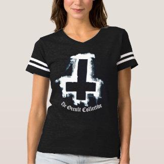 Black Inverted Cross Football Jersey Tshirt