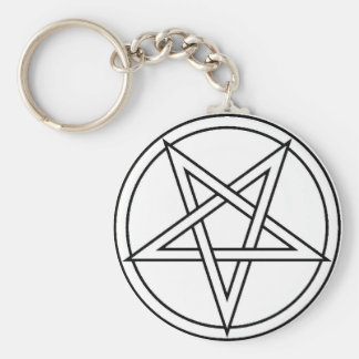 Black Inverted Pentacle Key Ring