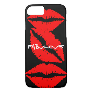 Black iPhone 7 case with Red Lips