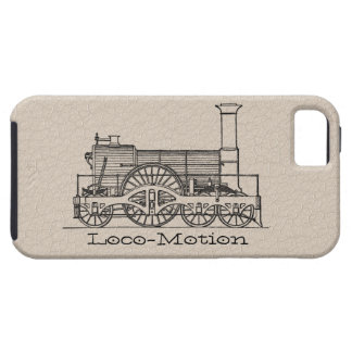 """Black """"Iron Horse"""" Train Print 2 on Leather iPhone 5 Cases"""