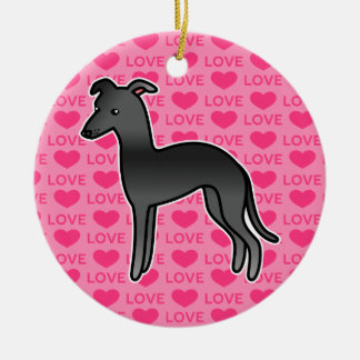 Black Italian Greyhound Love Round Ceramic Decoration