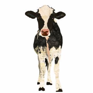 Black & Ivory Cow Sculpture Standing Photo Sculpture