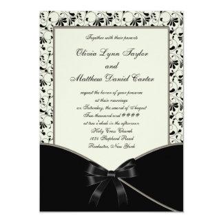 "Black Ivory Cream Damask Wedding 5"" X 7"" Invitation Card"