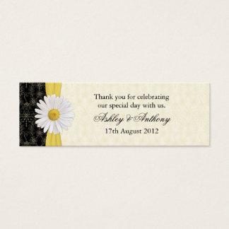 Black, Ivory, Gold Daisy Wedding Favor Tags Mini Business Card
