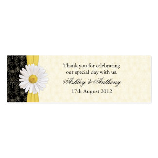 Black, Ivory, Gold Daisy Wedding Favor Tags Pack Of Skinny Business Cards