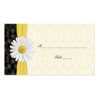 Black Ivory Gold White Daisy Wedding Place Cards Business Card Template