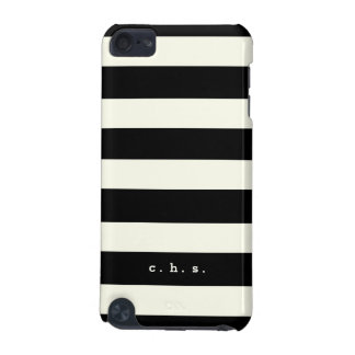 Black Ivory Stripes Monogram Initials Modern Case iPod Touch (5th Generation) Covers