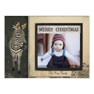 Black & Ivory Zebra Christmas Photo Card 14 Cm X 19 Cm Invitation Card
