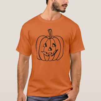 Black Jack-O-Lantern Pumpkin Outline on Orange T-Shirt