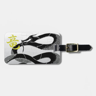 Black Japanese Dragon White Background Luggage Tag