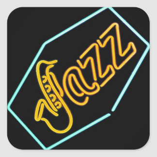 Black jazz square sticker