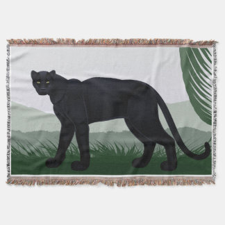 Black Jungle Panther Throw Blanket