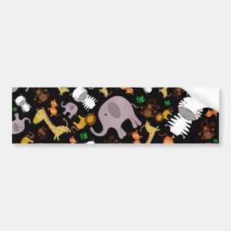 Black jungle safari animals bumper sticker