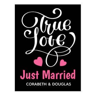 Black Just Married True Love Pink Hearts Wedding Postcard