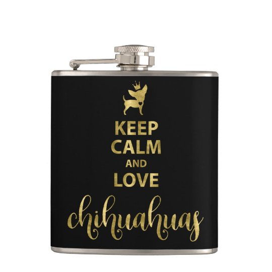 Black Keep Calm And Love Chihuahua Vinyl Flask 6oz