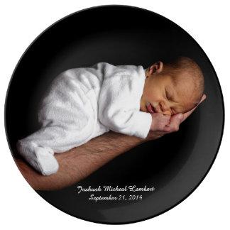Black Keepsake Custom Baby Photo Plate Porcelain Plates