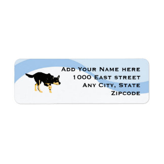 Black Kelpies on Blue Swirl Return Address Label