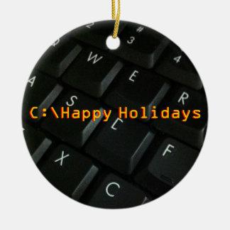 Black-Keyboard Geek Christmas ornament