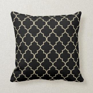 Black & Khaki  Quatrefoil Design Cushion