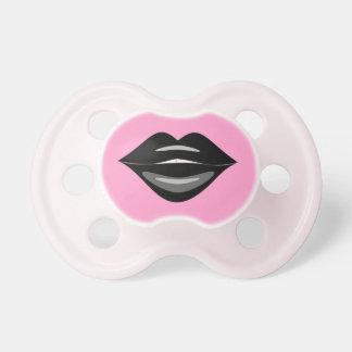 Black kiss lips baby pacifier