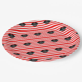 Black kiss lips red stripes paper plate
