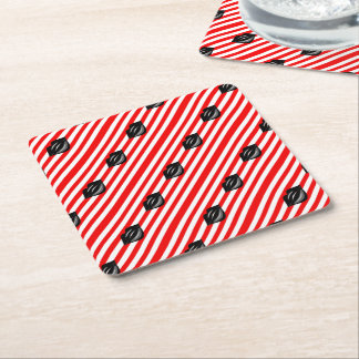 Black kiss lips red white striped coasters