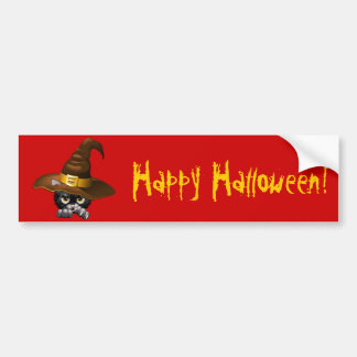 Black Kitten Cartoon With Witch Hat Bumper Stickers