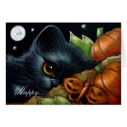 BLACK KITTEN CAT PUMPKIN BUTTERFLY HALLOWEEN Card