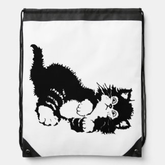 Black Kitten Drawstring Bag