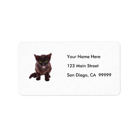 Black Kitten, Green Eyes, Pink Tongue Address Label