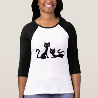 Black Kitten Ladies 3/4 Sleeve Raglan (Fitted) T-Shirt