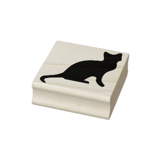 Black kitten silhouette art stamp