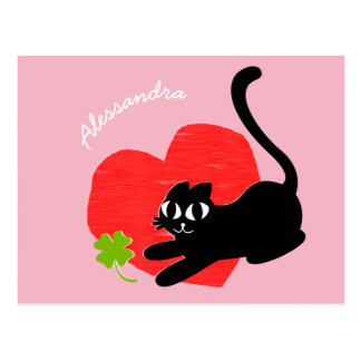 Black Kitten with Heart and Lucky Four Leaf Clover Postcard