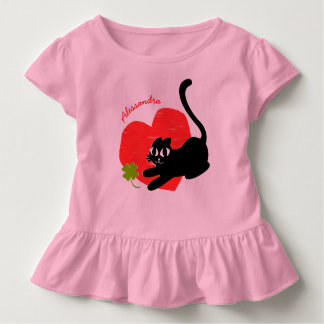 Black Kitten with Heart and Lucky Four Leaf Clover Toddler T-Shirt