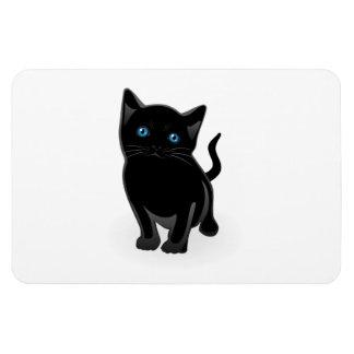Black kitty cartoon rectangular photo magnet