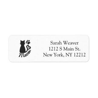 "Black Kitty Cat and ""Meow"" Paw Print Return Address Label"